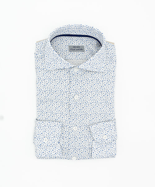 FLUID EVOLUTION NEAT FLORAL KNIT SHIRT / BLUE