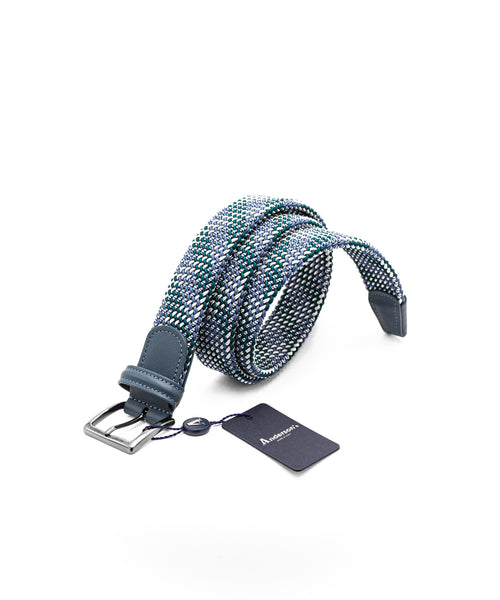 PLAID TUBULAR BRAIDED STRETCH BELT / GREEN