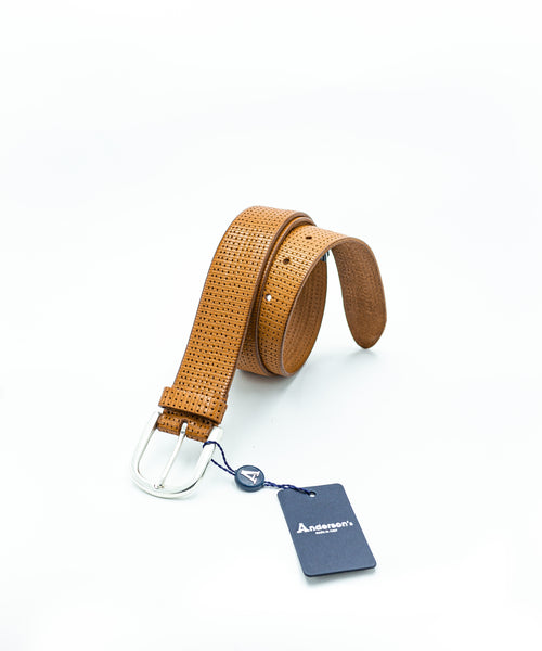 PERFORATED WASHED LEATHER BELT / BROWN