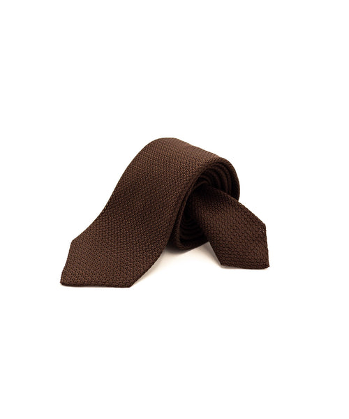 GRENADINE SILK BACK TIE / BROWN