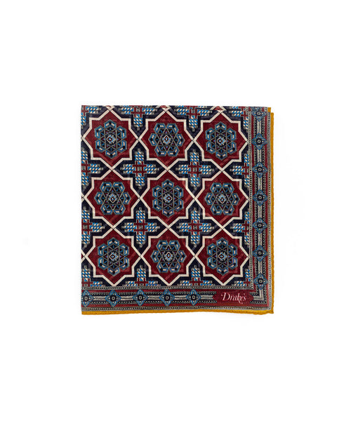 Red Baroque Tile Pocketsquare POC-44CMK-20270-004
