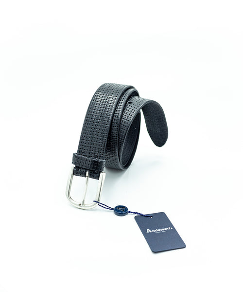 PERFORATED WASHED LEATHER BELT / BLACK