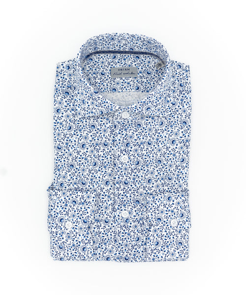 SMALL FLORAL PRINT SHIRT / BLUE