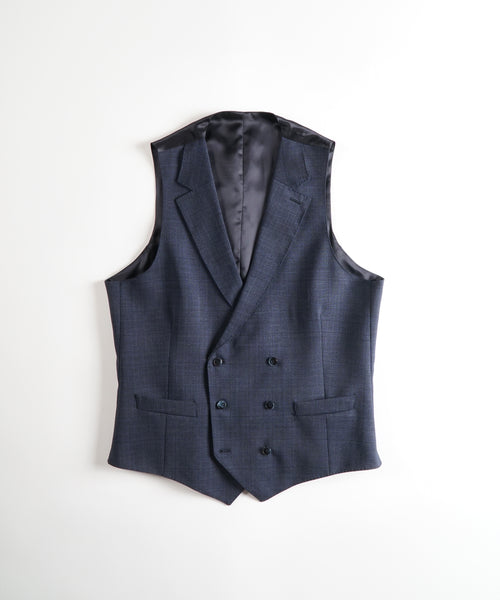 LORO PIANA 'MOOVING' CHECK VEST / NAVY