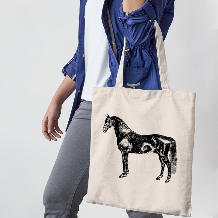 Black Horse Farmers Tote - ONE HORSE THREADS