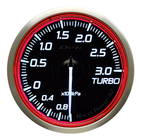 Defi Racer Gauge N2 Red (60mm) - Turbo 3.0