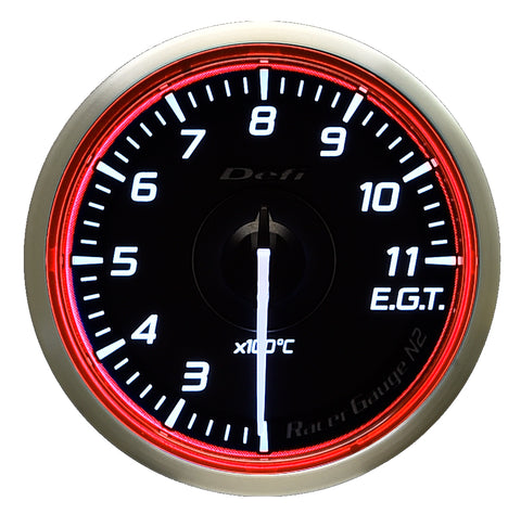 Defi Racer Gauge N2 Red (60mm) - Exhaust Temperature