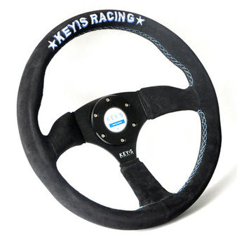Key's Racing FLAT Type Black Suede Steering Wheel 350mm