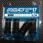 RAYS 17HEX Racing 2 Piece Nut Set - Black/Blue