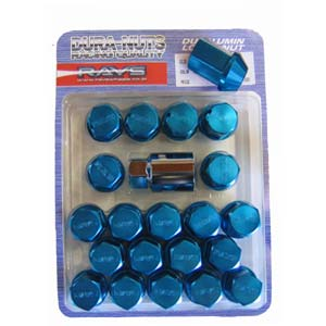 RAYS Standard Type Duralumin Lock & Nut Set - Blue