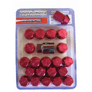 RAYS Standard Type Duralumin Lock & Nut Set - Red