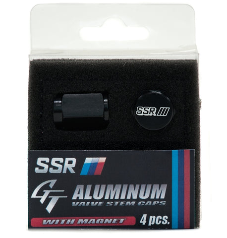 SSR GT Aluminum Air Valve Cap Set with Magnet - Black
