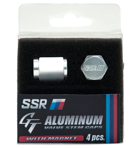 SSR GT Aluminum Air Valve Cap Set with Magnet - Silver