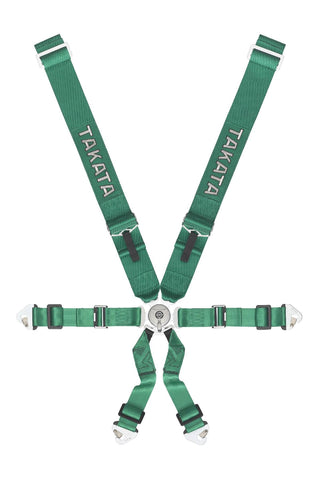 Takata Race 3x2 6-point snap-on Harness - Green