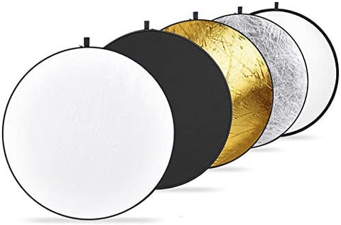 5 in 1 Light Reflector 110 cm/43-inch Black Gold Silver Translucent White Collapsible for taking photos or recording Videos in a studio