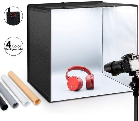"Portable Photo Studio Box 20""x 20""/50 * 50cm One-piece Structure Adjustable Brightness Light Box with 120 LED Lights,4 Colors Backdrops Professional Photography Shooting Tent"