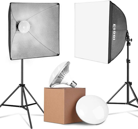900W LED Photography Softbox Lighting Kit 20x20 Inch Photo Studio Equipment with E27 Socket and 2x5500K Instant Brightness Energy Saving Lighting Bulbs