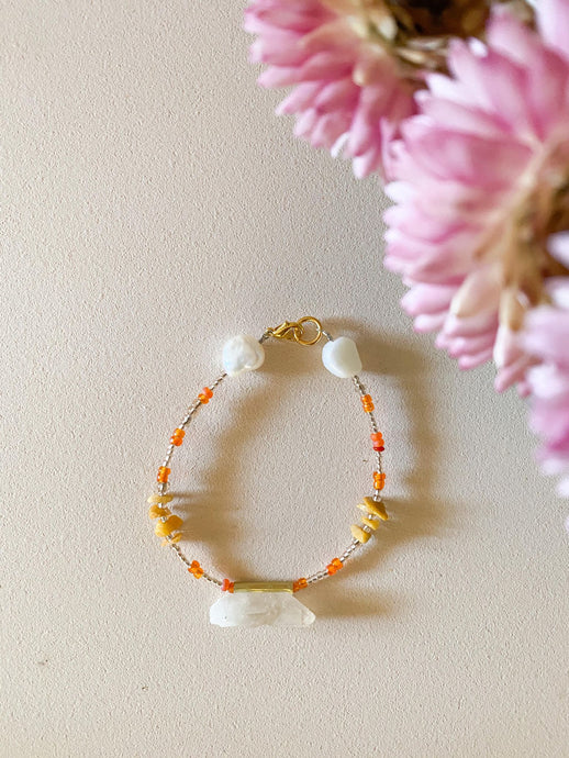 Clear Quartz/ Yellow Jasper / orange beads