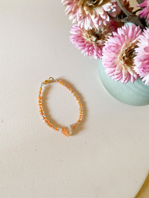 Crystal Chip Bracelet / orange beads