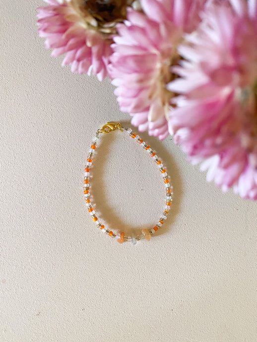 Crystal Chip Bracelet / orange