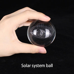 Galaxy Solar System Crystal Lamp - 3D Engraved