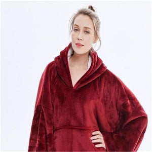 Winter Warm Blanket Hoodie Coral Fleece