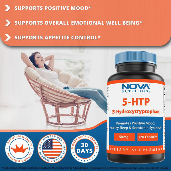 Nova Nutritions 5-HTP 50 mg 120 Capsules, 5 HTP Capsules Supports Relaxation & restful Sleep