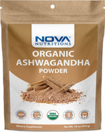 Nova Nutritions Certified Organic Ashwagandha Powder 16 OZ (454 gm) - Also Called Withania Somnifera