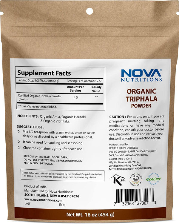 Nova Nutritions Certified Organic Triphala Powder 16 OZ (454 gm) - Supports Healthy Immune & Digestive Function.*