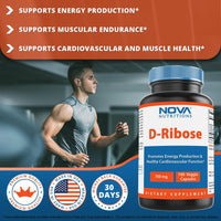 Nova Nutritions D-Ribose 700 mg Veggie Capsule - PROMOTES MUSCLE RECOVERY AND WORKOUT RECOVERY - 180 Count