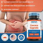 Nova Nutritions Cascara Sagrada Capsules - 450mg - All Natural Laxative - 250 Capsules