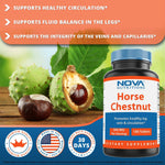 Nova Nutritions Horse Chestnut Seed Extract 300 mg (Non-GMO) Tablets Naturally Contains Aescin Which Promotes Healthy Leg Vein & Circulation 180 Count