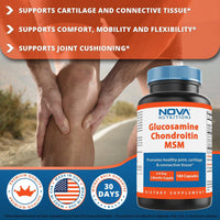 Nova Nutritions Triple Strength Glucosamine Chondroitin MSM 2600mg/Serving Capsules, Supports Healthy Joint, Cartilage and Connective Tissue - Promotes Joint Comfort & Flexibility 180 Count