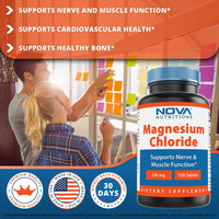 Nova Nutritions Magnesium Chloride 520mg - Supports Healthy Nervous System - 120 Tablets