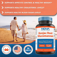 Nova Nutritions Konjac Root Glucomannan Capsules 2000 mg/Serving Veggie Caps - Promotes Regularity, Digestive Health & Healthy Weight Management, 180 Count