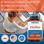 Nova Nutritions Choline Bitartrate 650 mg 180 Tablets - Promotes Cognitive function