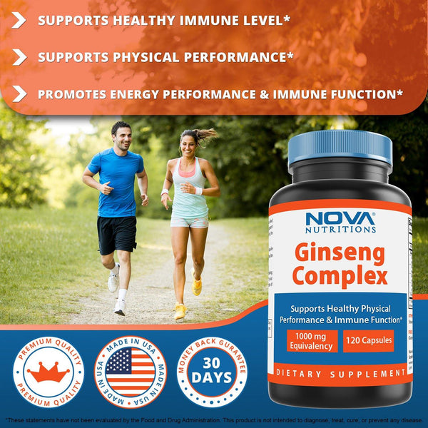 Nova Nutritions Ginseng Complex 1000 mg capsule - Made with Red Chinese Ginseng, Panax Ginseng, Eleuthero Root & American Ginseng, 120 Count