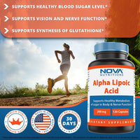 Nova Nutritions Alpha Lipoic Acid ALA 200 mg (Non-GMO) for Healthy Blood Sugar Support & Antioxidant Support, 120 Capsules