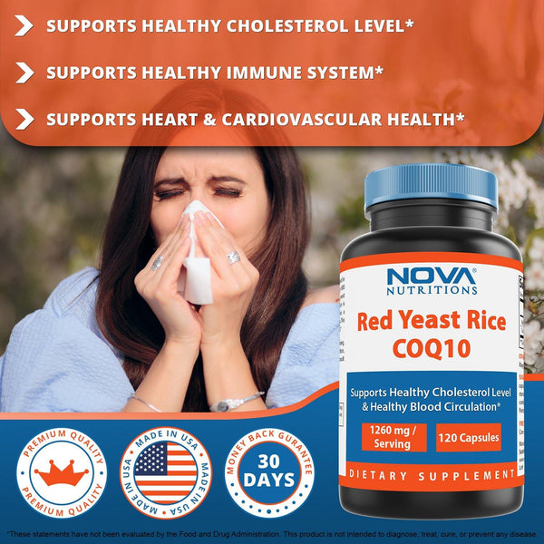Nova Nutritions Red Yeast Rice 1200 mg. - COQ10 60 mg (Citrinin Free) for Cholesterol Support Capsules 120 ct