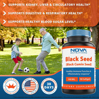 Nova Nutritions Black Seed Oil Capsules 500 mg 90 Softgels