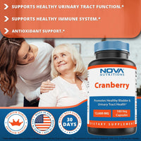 Nova Nutritions Cranberry Urinary Tract Health Dietary Supplement, 12600mg Vegetarian Craberry Pills with Vitamin C & Vitamin E, Helps Cleanse & Protect The Urinary Tract, 180 Count