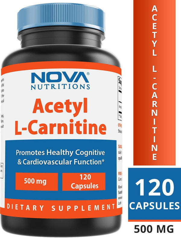 Nova Nutritions Acetyl L-Carnitine 500mg Capsules - Helps Maintain Healthy Brain Function, 120 Count