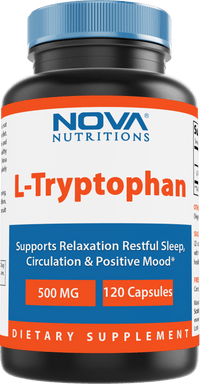 Nova Nutritions L-Tryptophan 500 mg 120 Capsules - Tryptophan Supplements for Natural Sleep Aid, Stress Relief, Circulation & Immune Support
