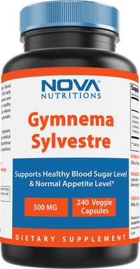 Nova Nutritions Gymnema Sylvestre 500mg Veggie Capsules for Healthy Glucose Metabolism & Craving, 240 Count