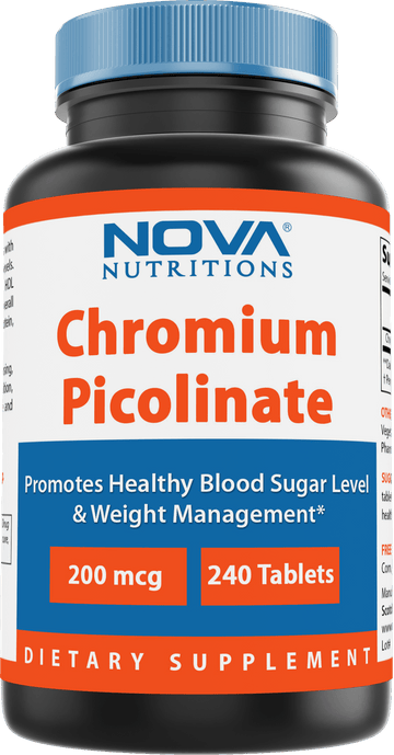 Nova Nutritions Chromium Picolinate 200mcg 240 Tablets - Chromium Promotes Healthy Glucose Metabolism