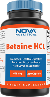 Nova Nutritions Betaine HCL with Pepsin Digestive Enzyme 648 mg 250 Capsules - Tested For Quality and Safety, Gluten Free and Non-GMO