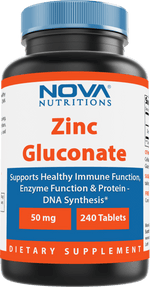 Nova Nutritions Zinc Gluconate 50mg, Supports Healthy Immune Function, 240 Tablets