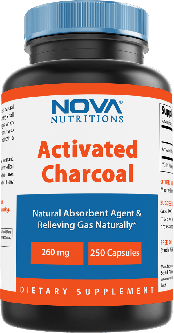 Nova Nutritions Activated Charcoal 260mg - 250 Capsules