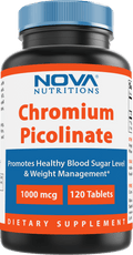 Nova Nutritions Chromium Picolinate 1000mcg 120 Tablets - Chromium promotes healthy glucose metabolism