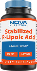 Nova Nutritions R-Lipoic Acid 100mg Veggie Capsule - R Alpha Lipoic Acid Maintains healthy blood sugar level - 60 Count